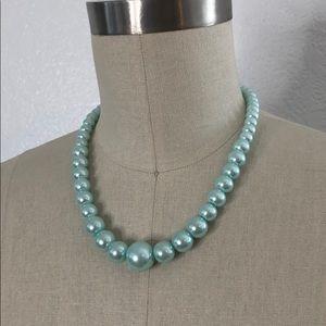 Aqua pastel blue faux pearl bridesmaid necklace st